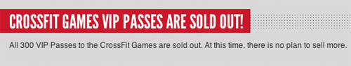 CrossFit Games VIP Passes Are Sold Out